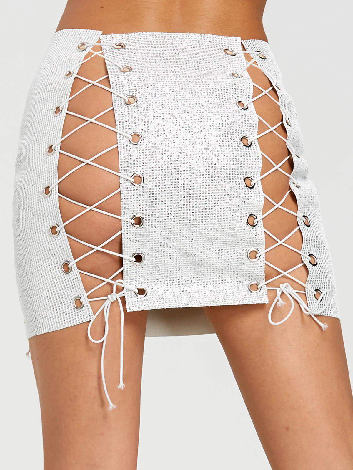 DIY Lace Up Sequined Eyelet Mini Skirt - SILVER ONE SIZE
