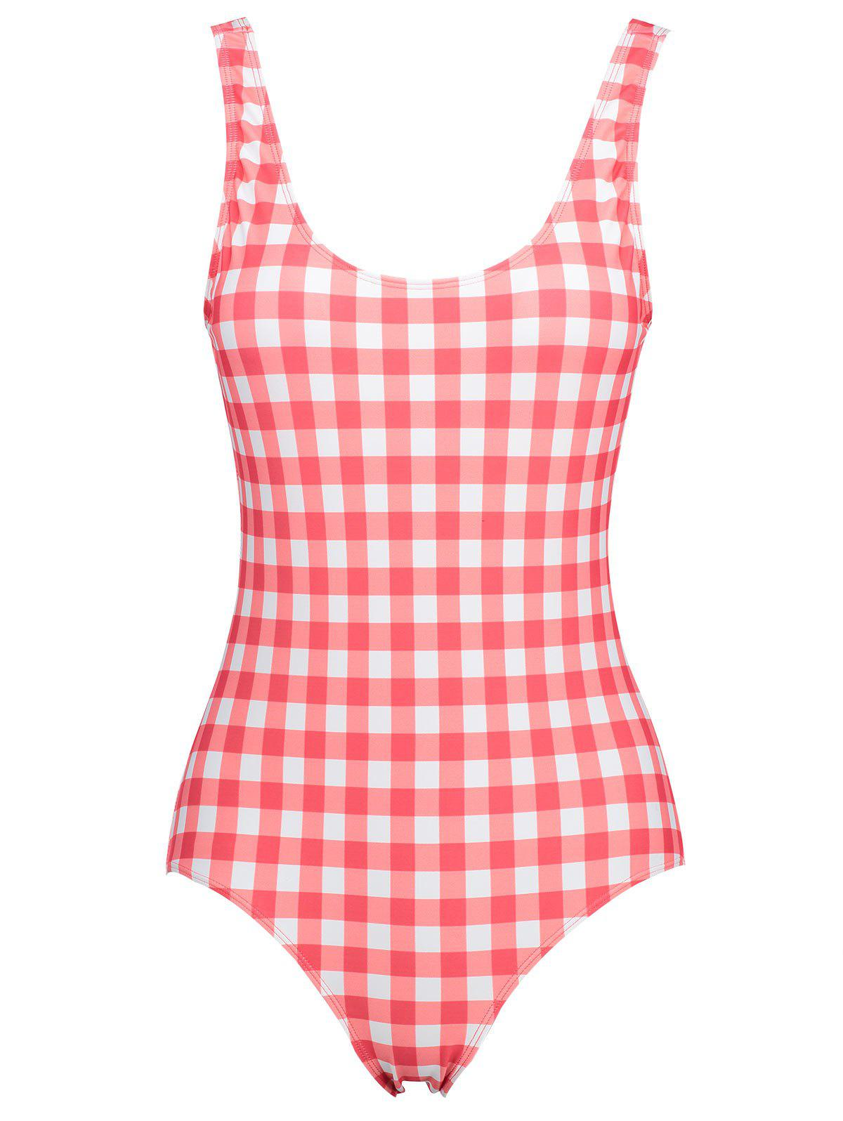 Plus Size Low Back Plaid Swimsuit - CHECKED 3XL