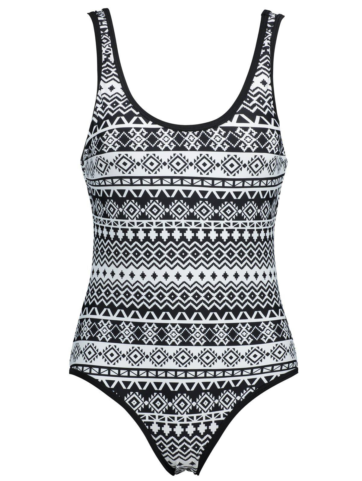 Plus Size Backless Printed Swimsuit - BLACK 2XL