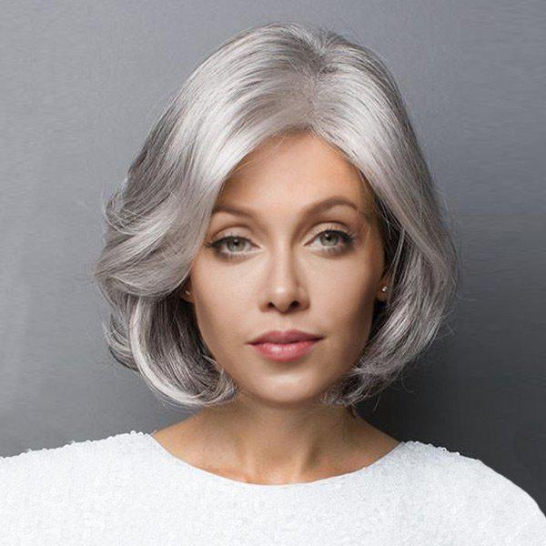 Short Side Parting Fluffy Slightly Curled Bob Synthetic Wig vogue synthetic long slightly curled fluffy side parting mixed color hair wig for women