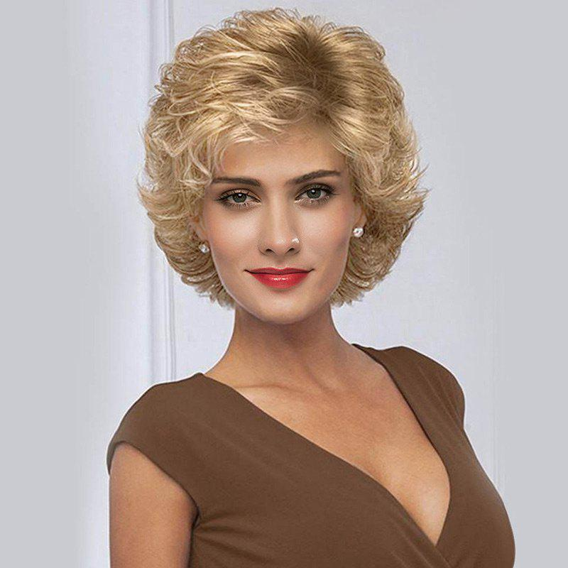 Short Side Bang Fluffy Tail Upward Slightly Curly Synthetic Wig charming fashion short jerry curly fluffy side bang heat resistant synthetic women s blonde wig