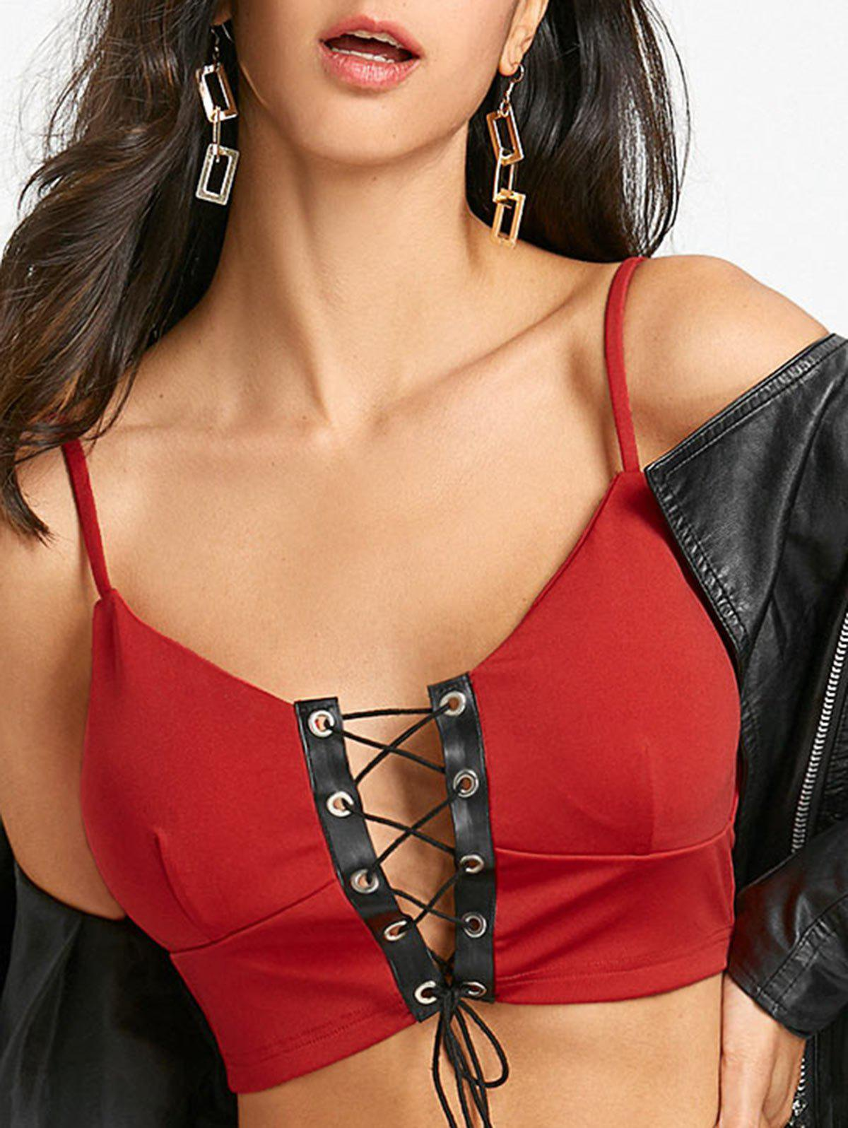 Lace Up Padded Camisole - RED XL