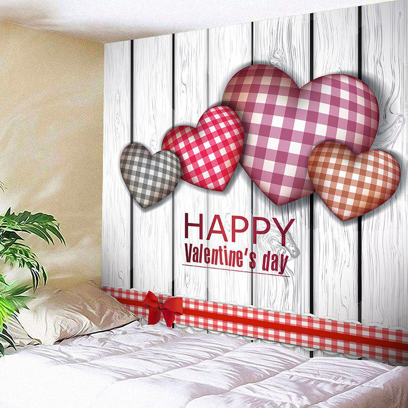 Valentine's Day Tartan Plaid Heart Wall Hanging - COLORFUL W91 INCH * L71 INCH