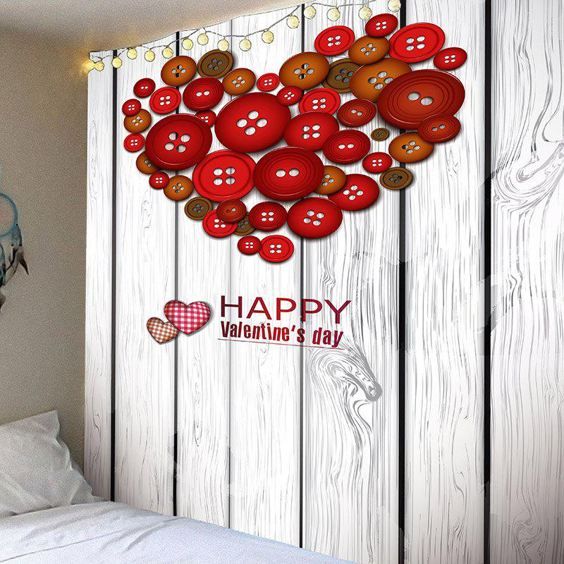Buttoned Heart Wood Board Wall Hanging - RED W91 INCH * L71 INCH