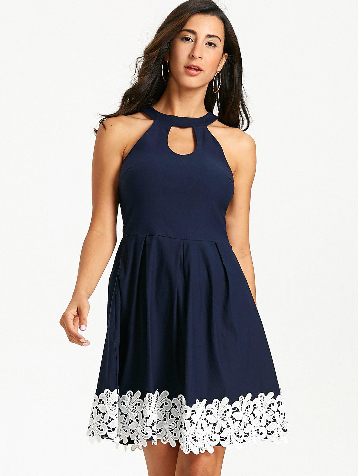 Floral Crochet Sleeveless Keyhole Skater Dress - PURPLISH BLUE M