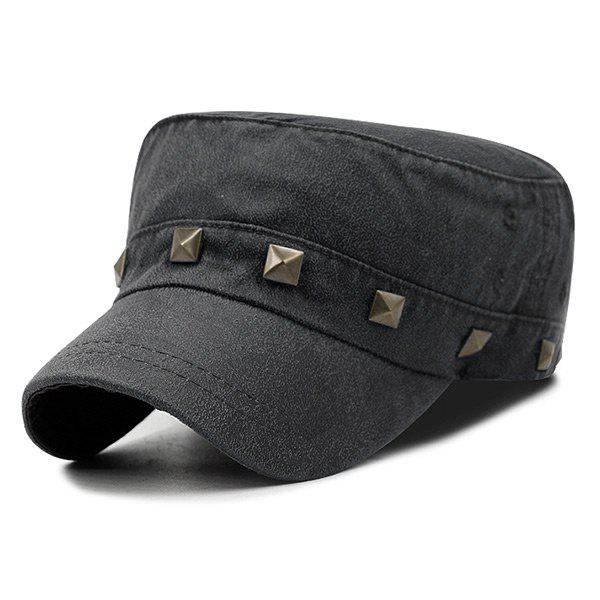 Outdoor Square Rivet Decoration Dyed Washed Military Hat - BLACK