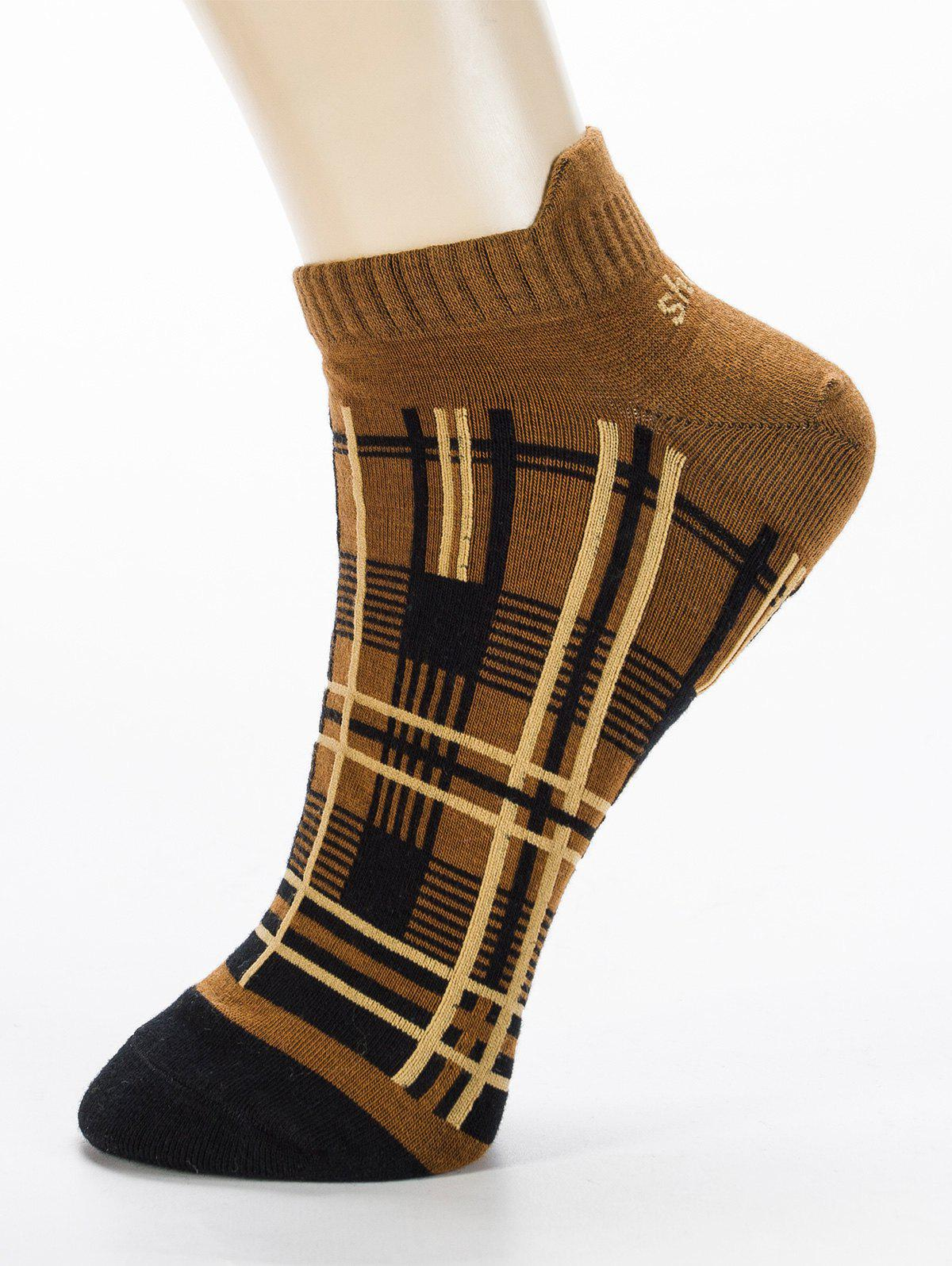 Pair of Irregular Cross Stripe Pattern Ankle Socks - TOPAZ ONE SIZE