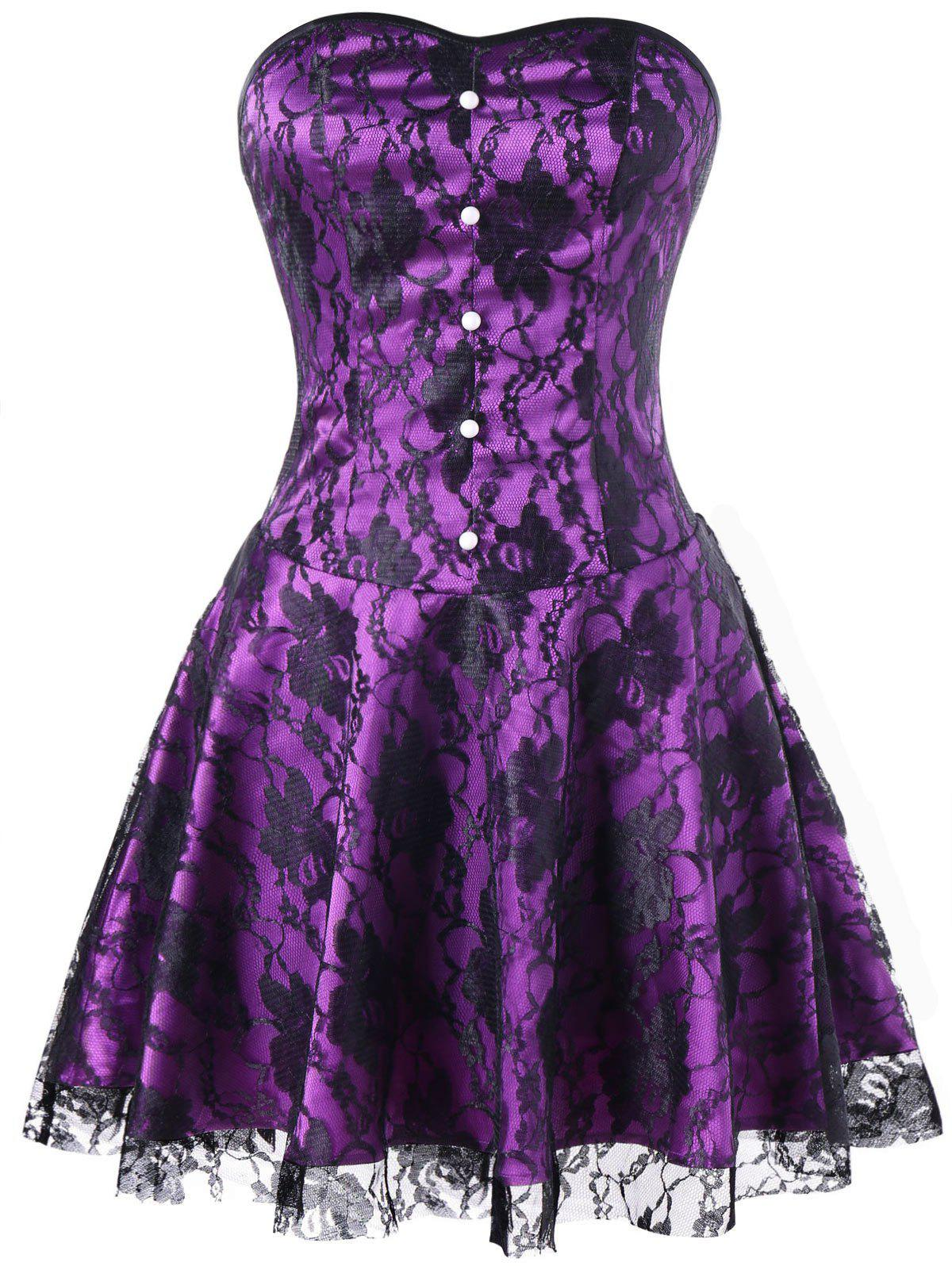 Strapless Lace Up Corset Dress - BLACK/PURPLE L