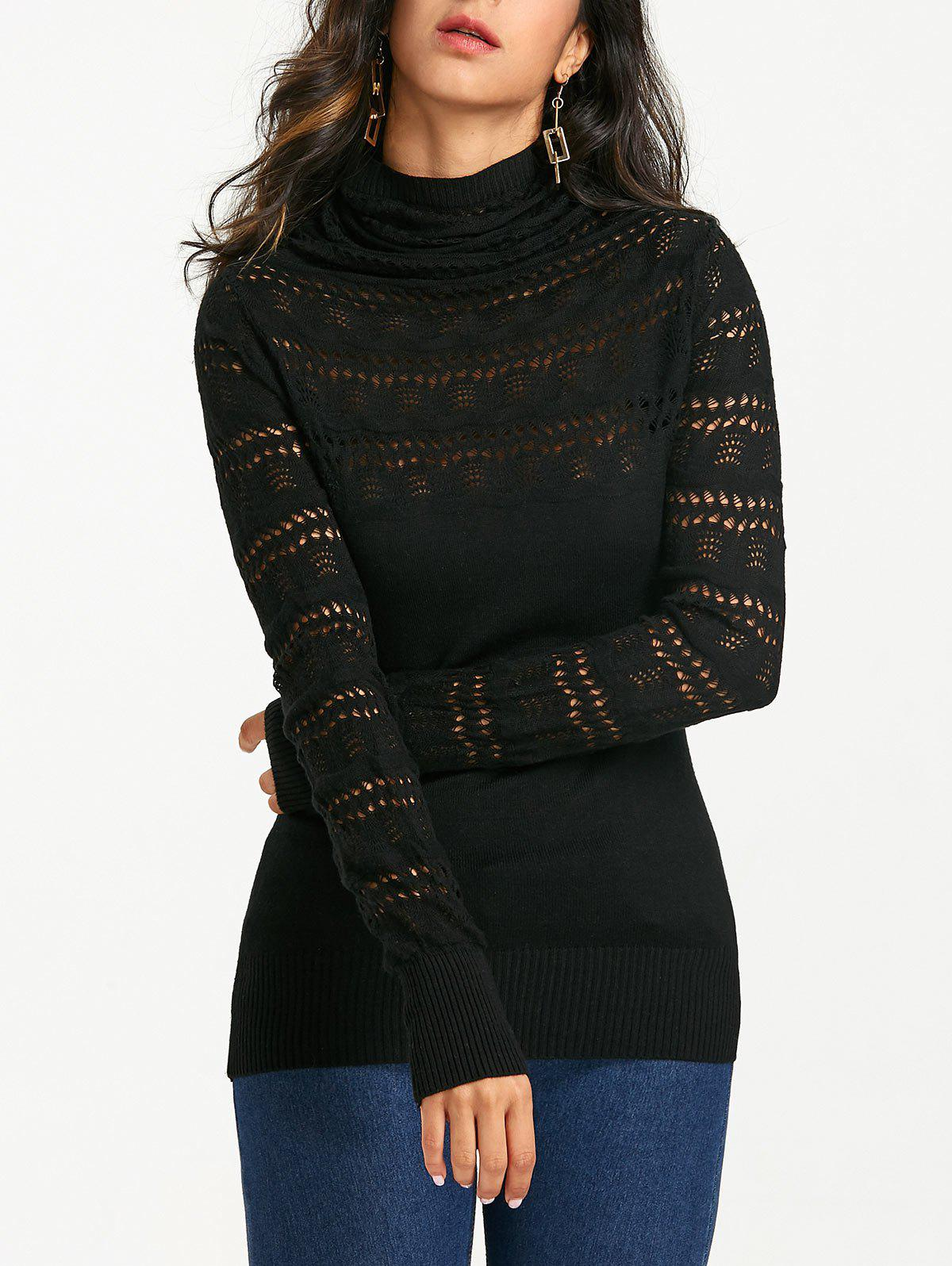 Cowl Neck Open Knitted Sweater - BLACK ONE SIZE