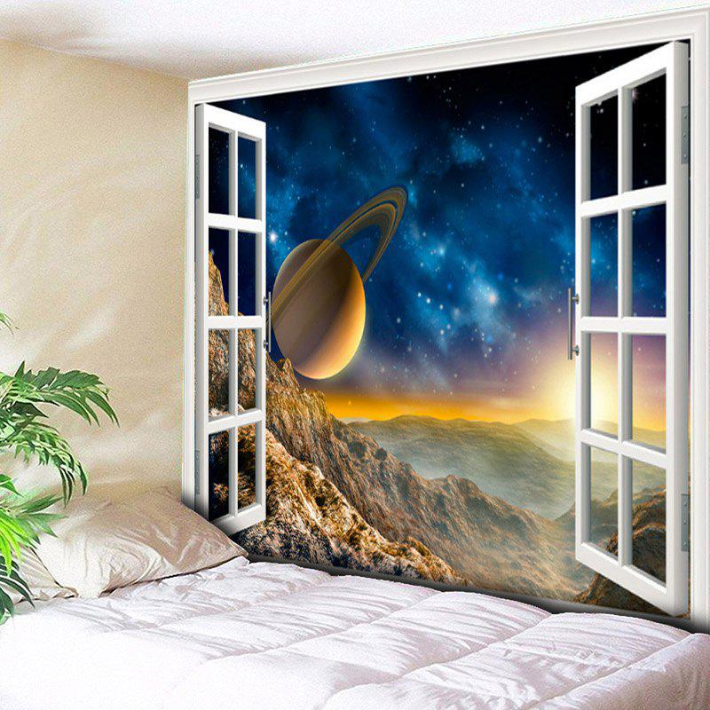 3D Planet Window Scenery Print Wall Hanging Tapestry - COLORMIX W79 INCH * L59 INCH