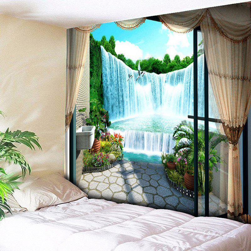Window Scenery Waterfall Print Wall Hanging Tapestry window scenery rice field printed wall tapestry