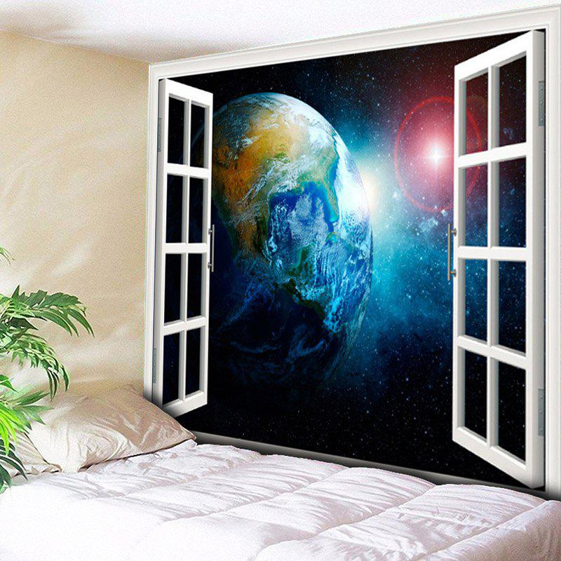 Wall Hanging 3D Window Scenery Planet Print Tapestry - COLORMIX W79 INCH * L59 INCH