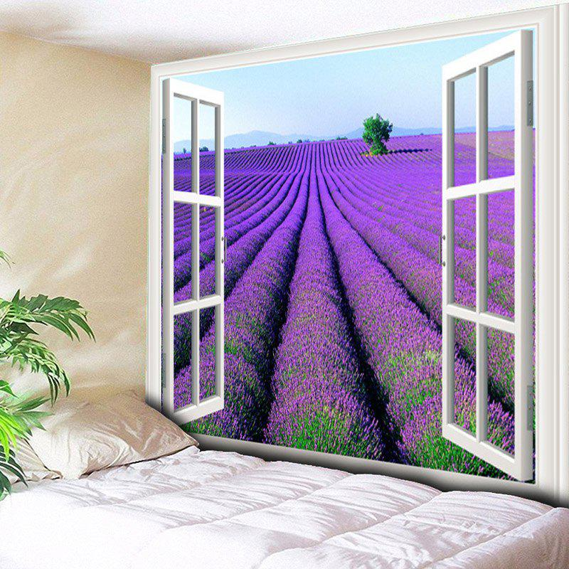 Window Scenery Lavender Flower Field Pattern Wall Tapestry - PURPLE W79 INCH * L59 INCH