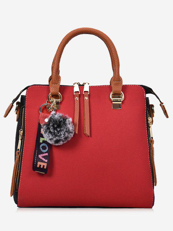 Letter Pompom Zip Faux Leather Handbag - RED
