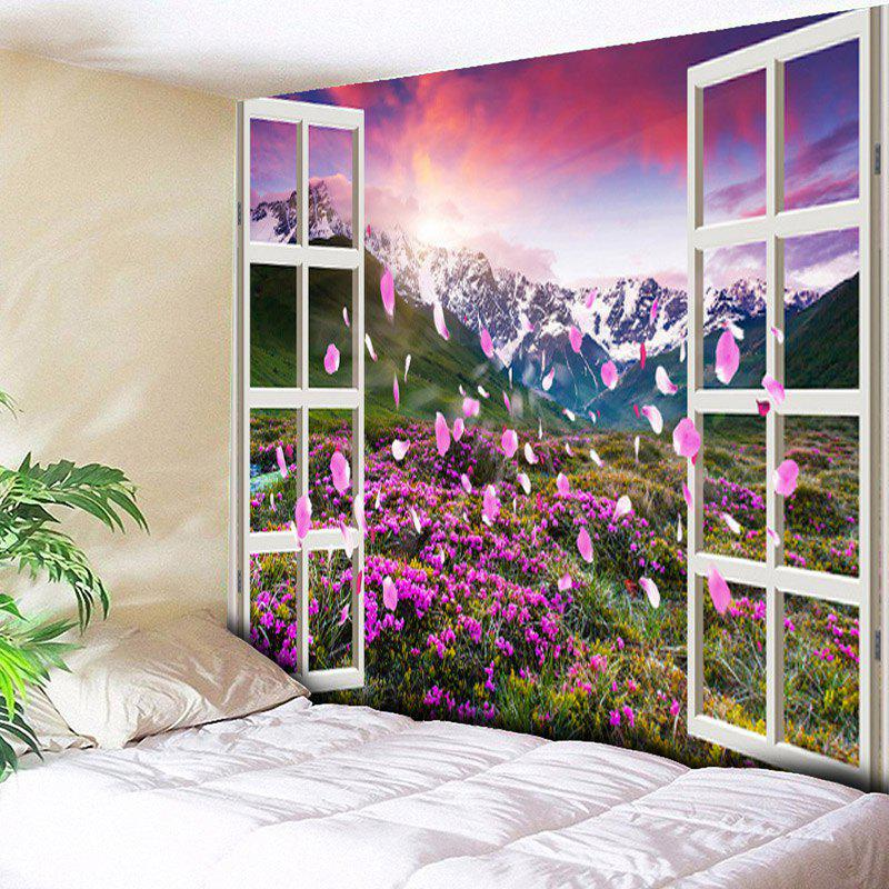 Window Scenery Flower Mountain Pattern Wall Tapestry window scenery rice field printed wall tapestry