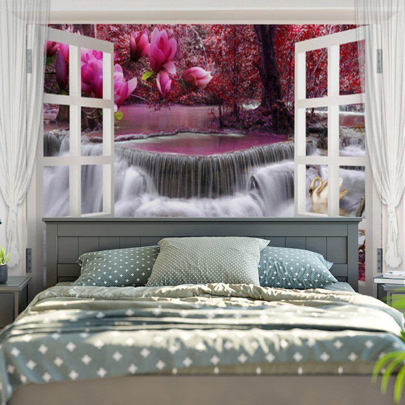 Window Scenery Romantic Geese Love Stream Printed Wall Tapestry - COLORMIX W79 INCH * L59 INCH