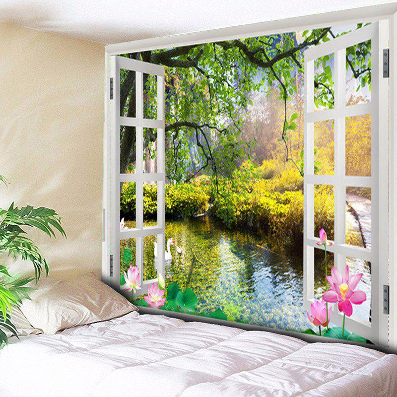 Window Scenery Print Wall Hanging Tapestry - COLORMIX W79 INCH * L59 INCH