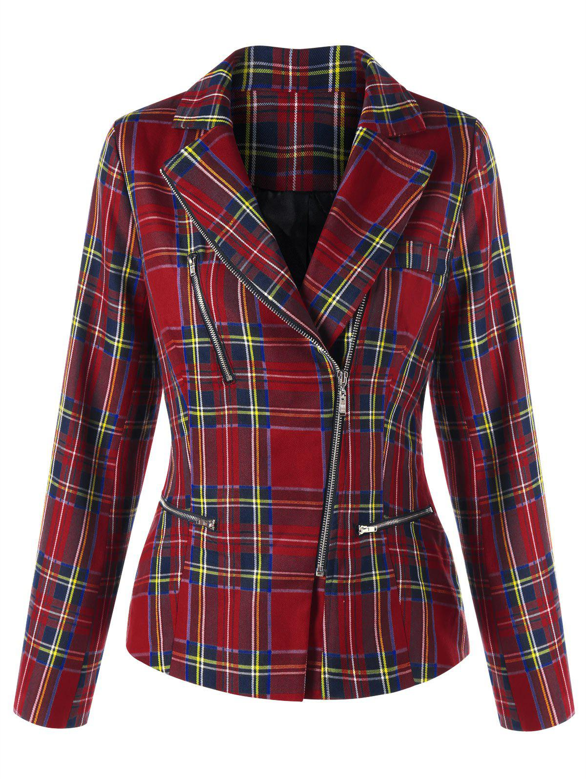 Checked Zip Fly Jacket - CHECKED M