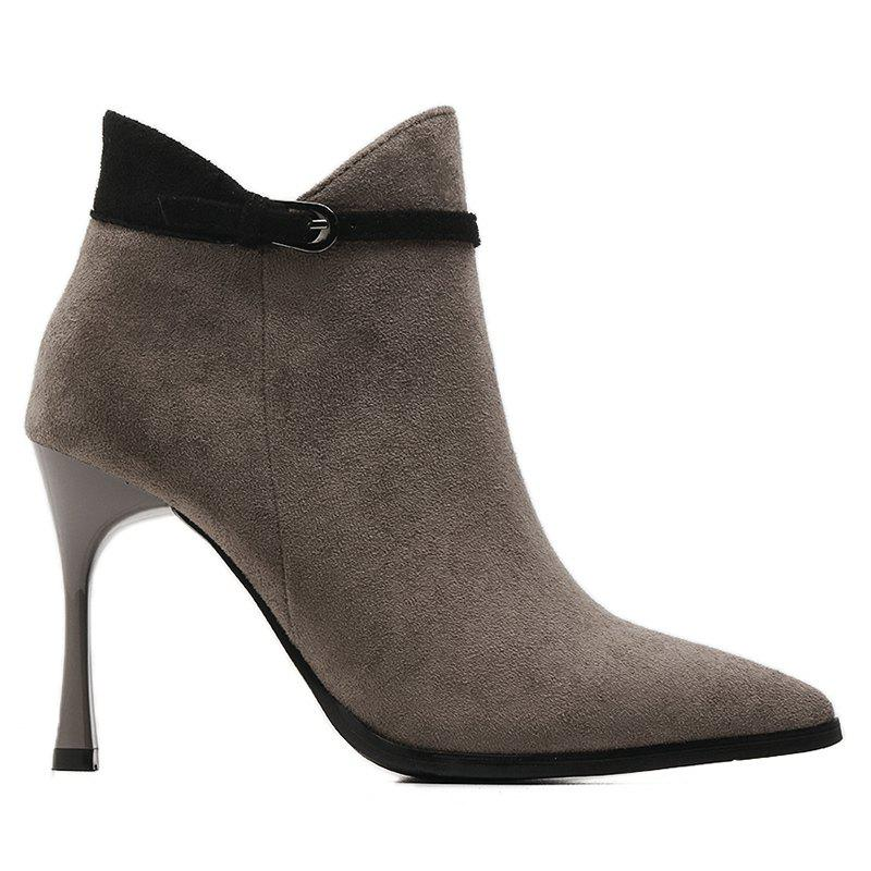 Buckle Strap Faux Suede Stiletto Heel Ankle Boots faux suede stiletto ankle boots dusty rose