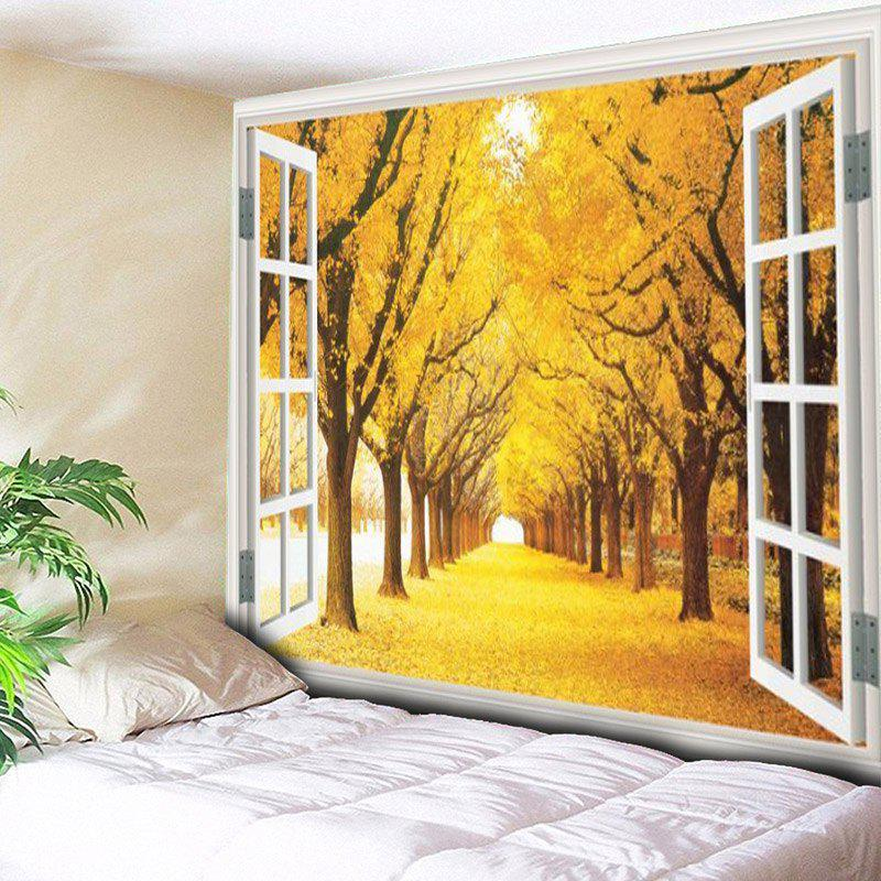 Window Scenery Trees Print Wall Hanging Tapestry - YELLOW W79 INCH * L59 INCH