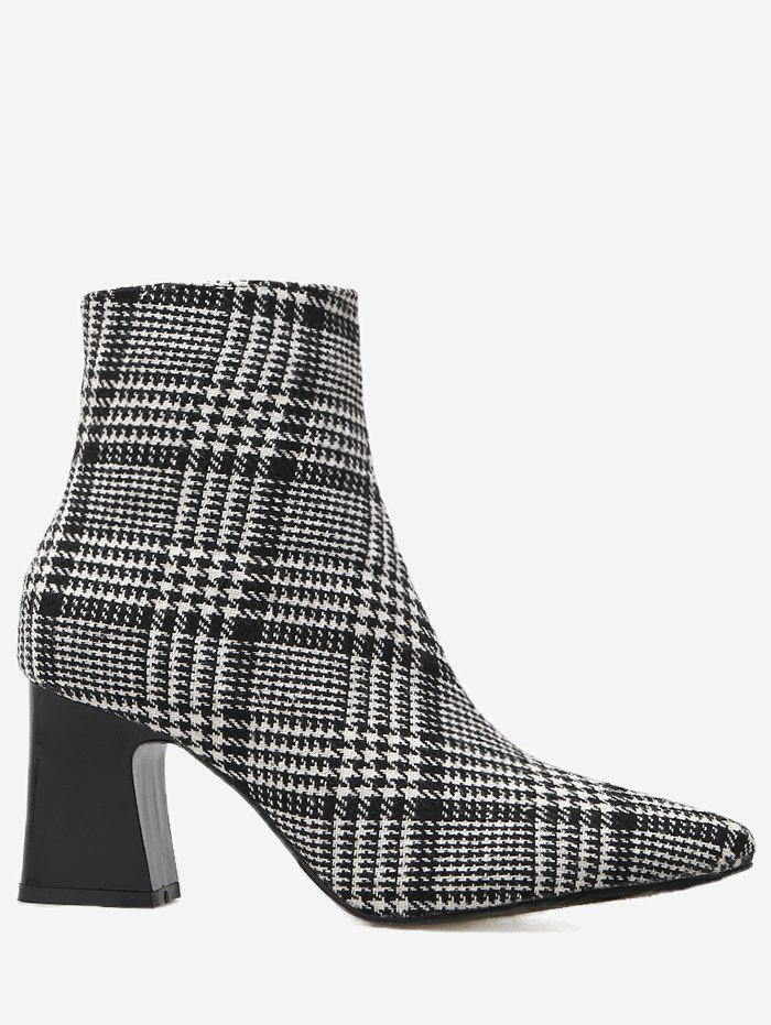 Houndstooth Plaid Point Toe Ankle Boots - BLACK 39
