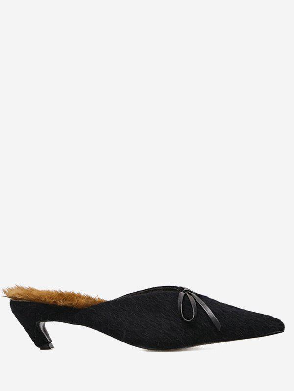 Bowknot Artificial Fur Mules Shoes - BLACK 39