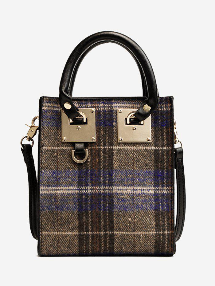 Plaid Metal Handbag - BLUE