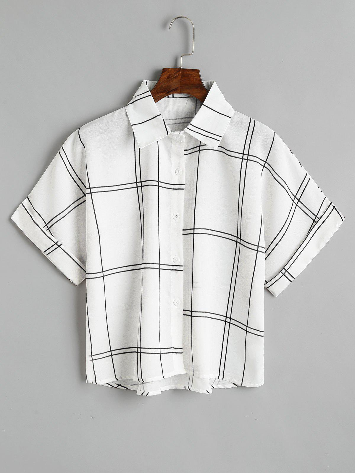 Checked Button Down Loose Shirt - BLACK ONE SIZE