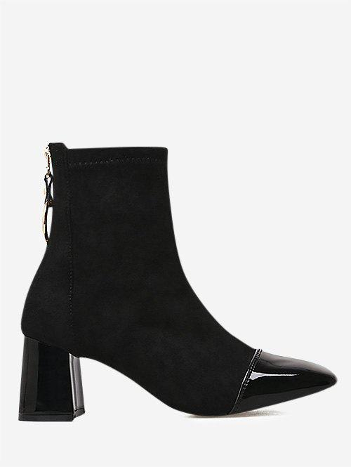 PU Panel Square Toe Faux Suede Boots - BLACK 39