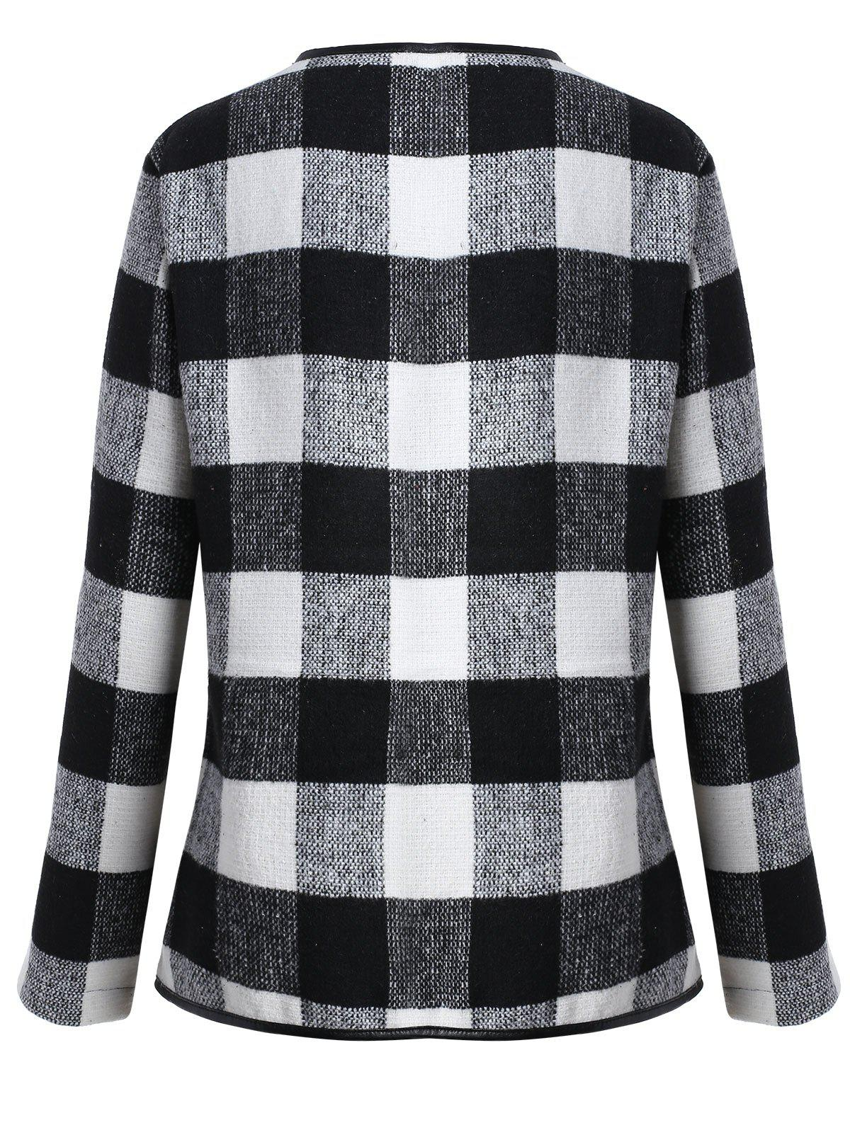 Drape Plus Size Plaid Coat - BLACK WHITE XL