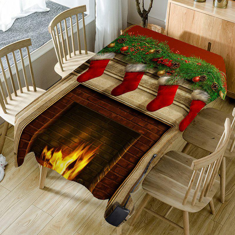 Home Decor Christmas Fireplace Printed Table Cloth - COLORFUL W60 INCH * L84 INCH