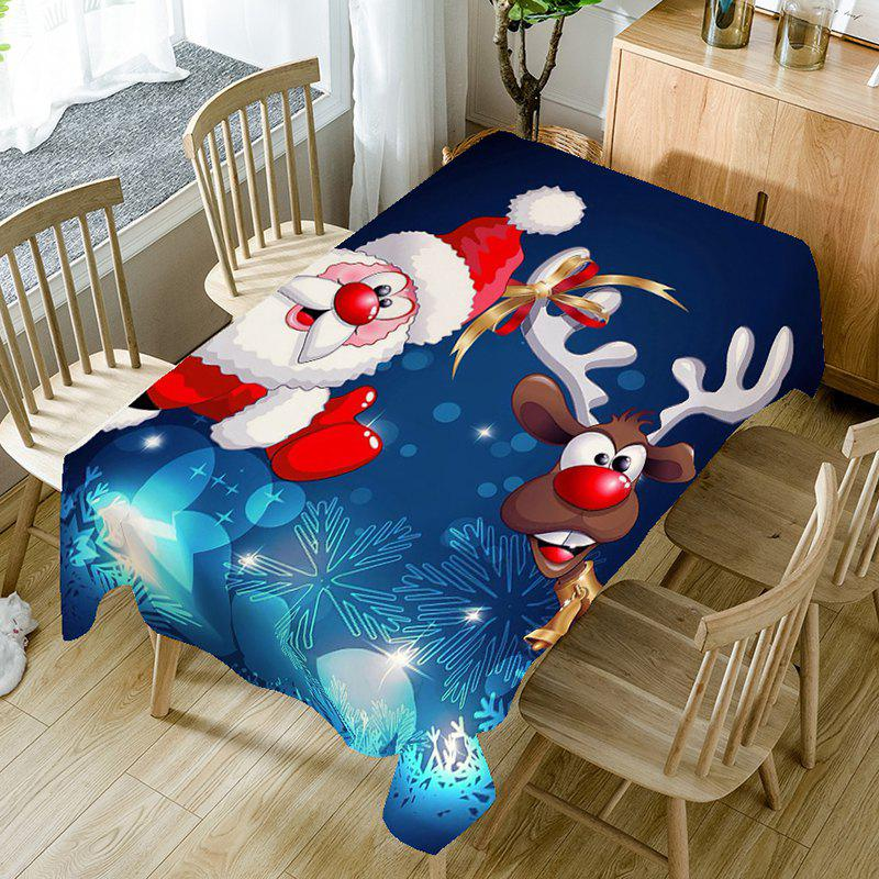 Santa Claus And Christmas Elk Print Table Cloth - BLUE/WHITE/RED W54 INCH * L54 INCH