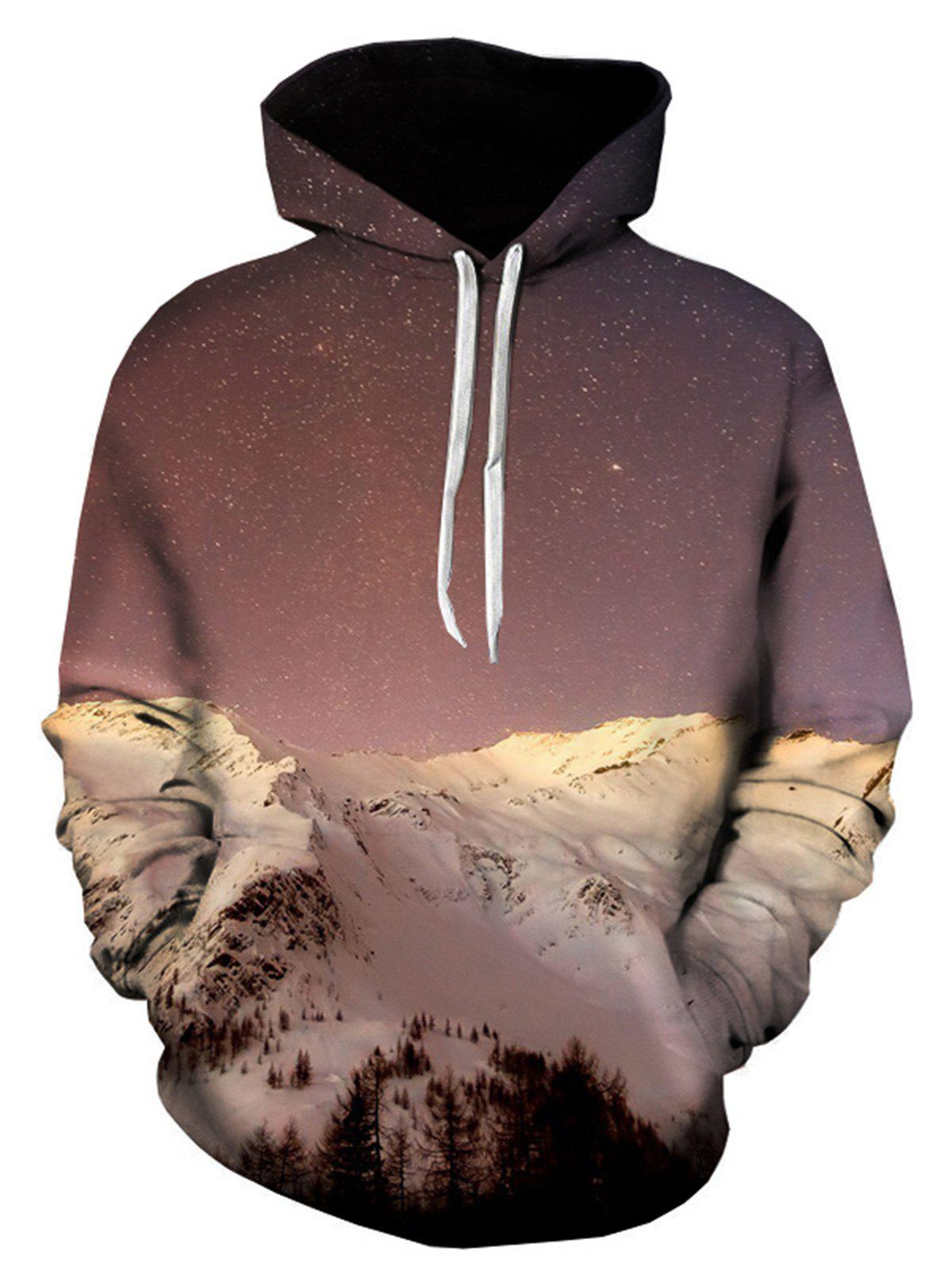 Snow Mountain Galaxy 3D Print Pullover Hoodie - COLORMIX L
