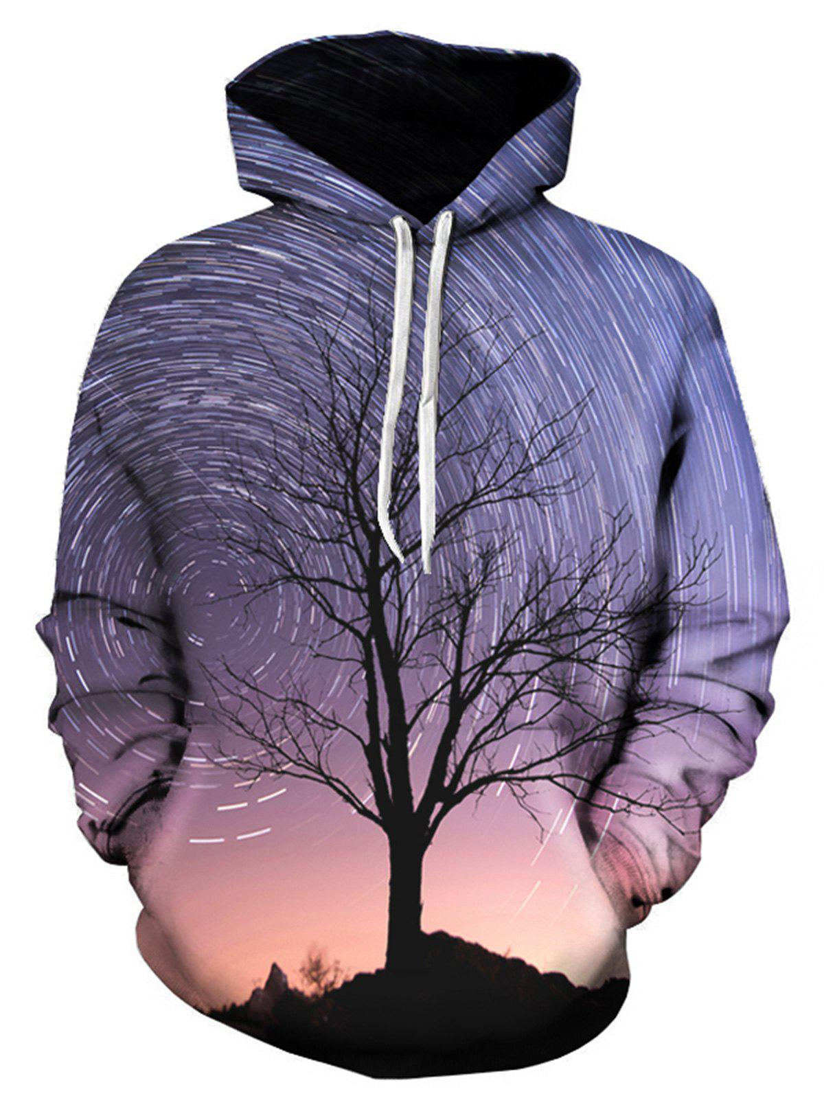 Tree Vortex Galaxy 3D Print Pullover Hoodie - COLORMIX 4XL