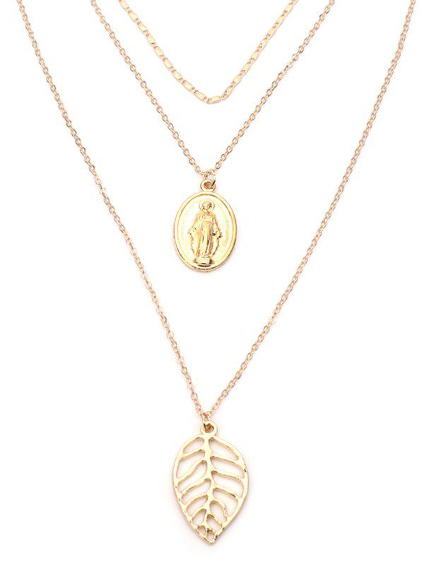 Alloy Engraved Jesus Leaf Layered Necklace - GOLDEN