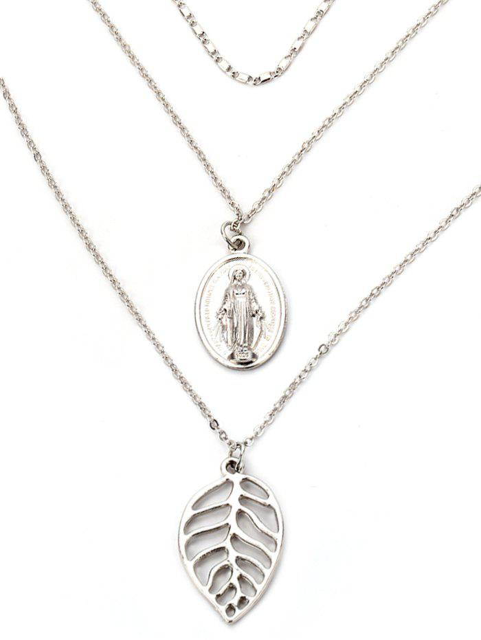 Alloy Engraved Jesus Leaf Layered Necklace - SILVER