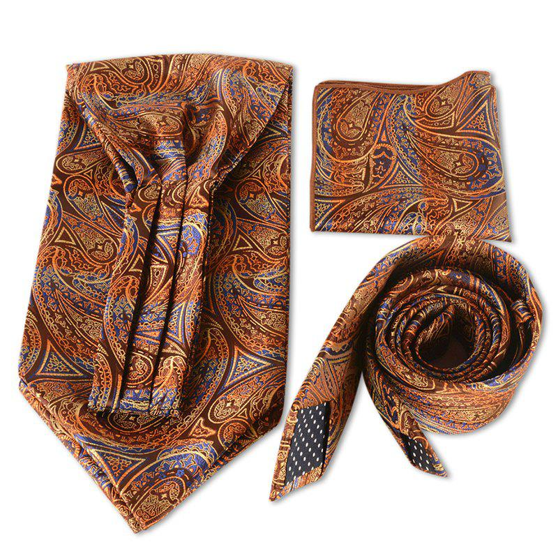Cashew Pattern Decoration Faux Silk Handkerchief Necktie Set - BRONZE COLORED