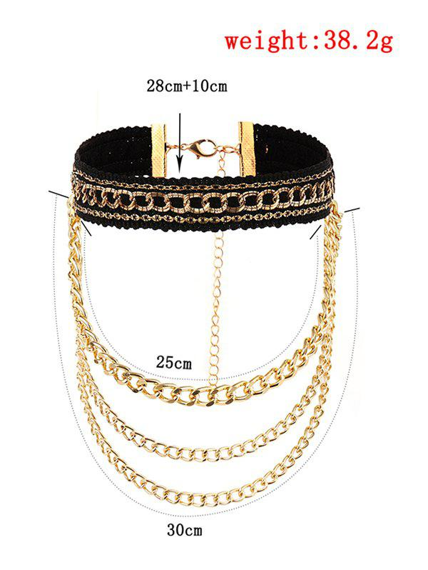 Layered Fringed Chain Braid Choker Necklace - GOLDEN