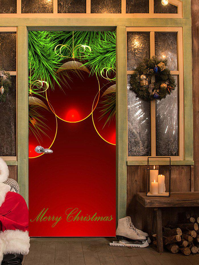 Merry Christmas Baubles Pattern Door Stickers - RED 38.5*200CM*2PCS