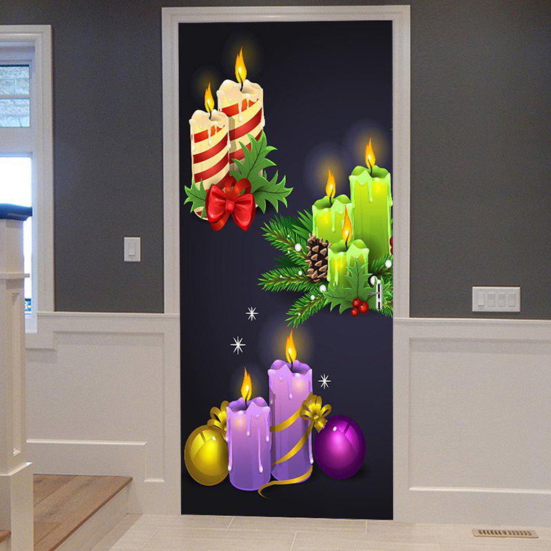 Christmas Candles Balls Pattern Door Stickers - COLORMIX 38.5*200CM*2PCS