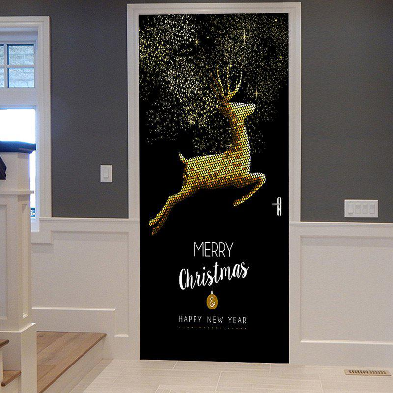 Christmas Home Decoration Flying Elk Pattern Removable Door Stickers креатто аппликация коровушка