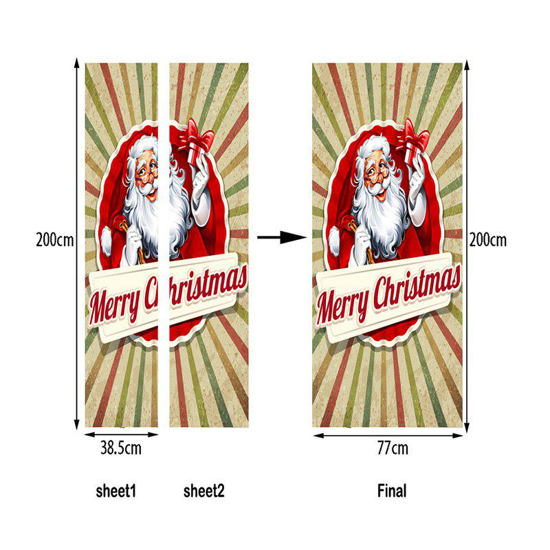 Christmas Home Decor Santa Claus Pattern Removable Door Stickers - RED 38.5*200CM*2PCS
