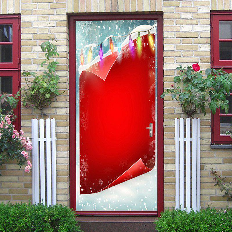 Christmas Background and Light Printed Door Stickers - RED 38.5*200CM*2PCS