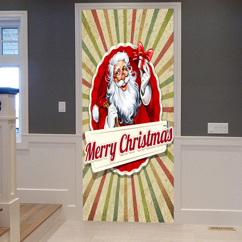Christmas Home Decor Santa Claus Pattern Removable Door Stickers fat santa claus pattern door cover stickers