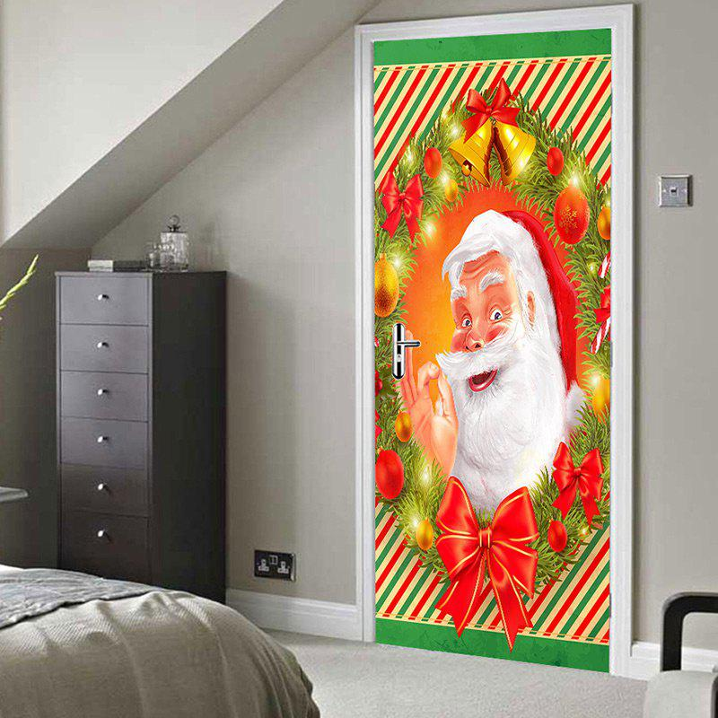 Christmas Smile Santa Claus Printed Removable Door Stickers - RED 38.5*200CM*2PCS