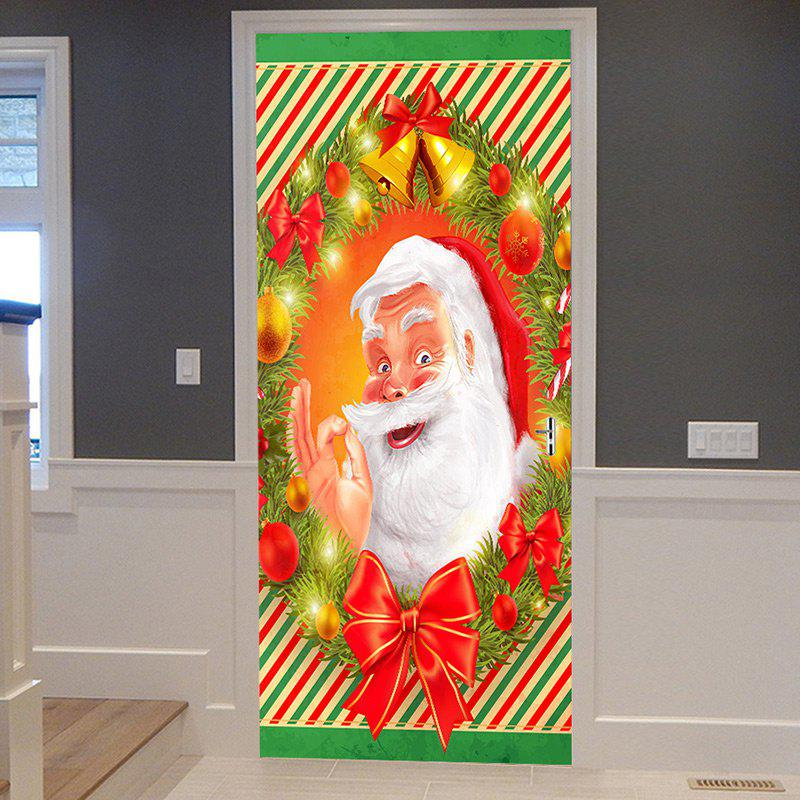 Christmas Smile Santa Claus Printed Removable Door Stickers fat santa claus pattern door cover stickers