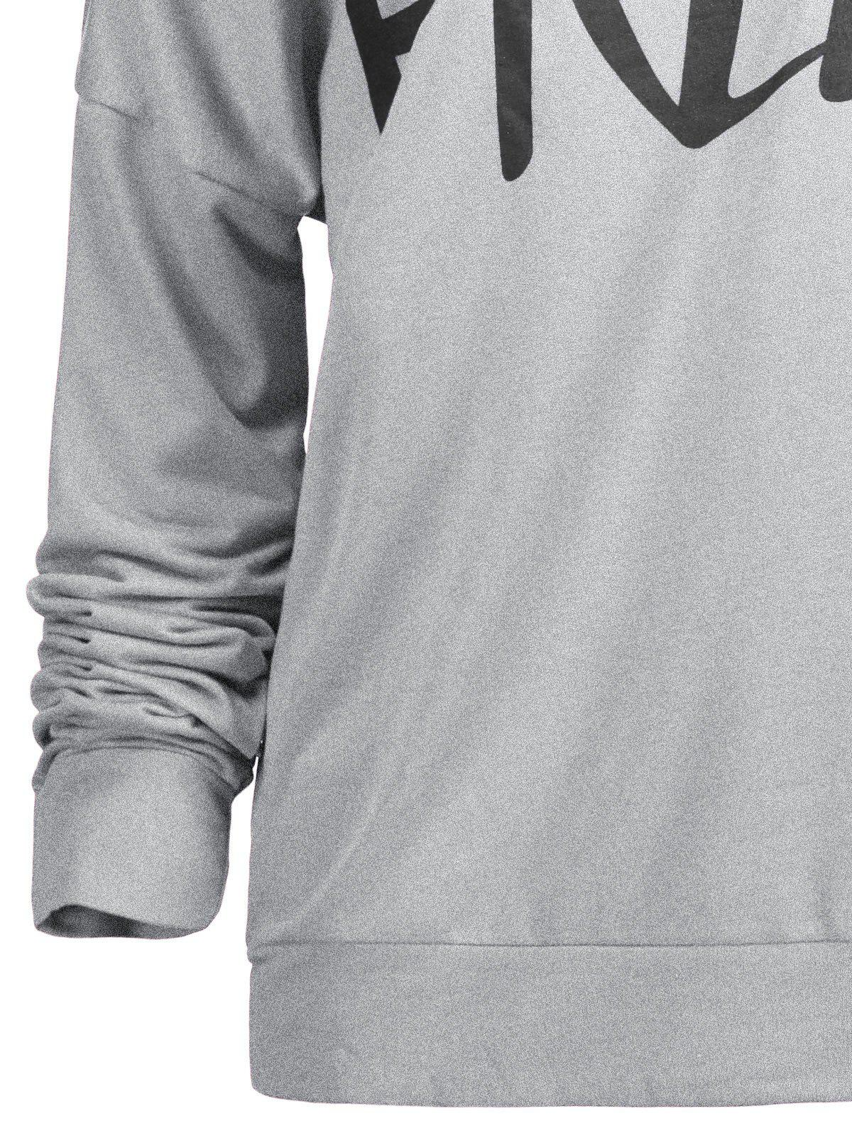 Free Print One Shoulder Sweatshirt - GRAY XL