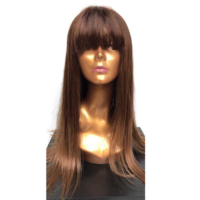 Long Full Fringe Straight Synthetic Wig - BROWN
