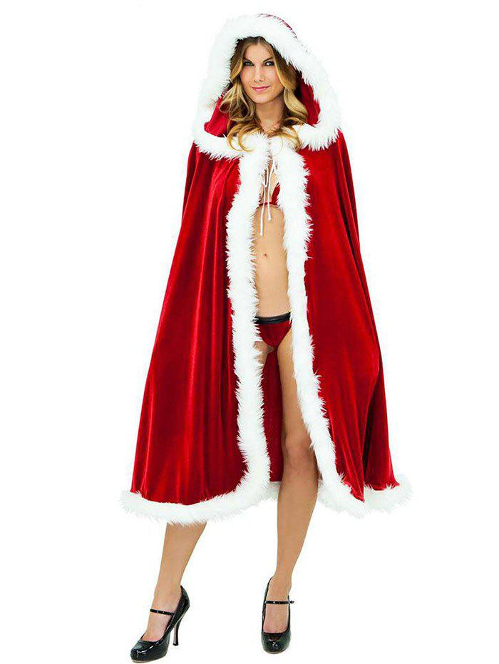 Hooded Christmas Cosplay Costume Santa Cloak - RED 1.2M