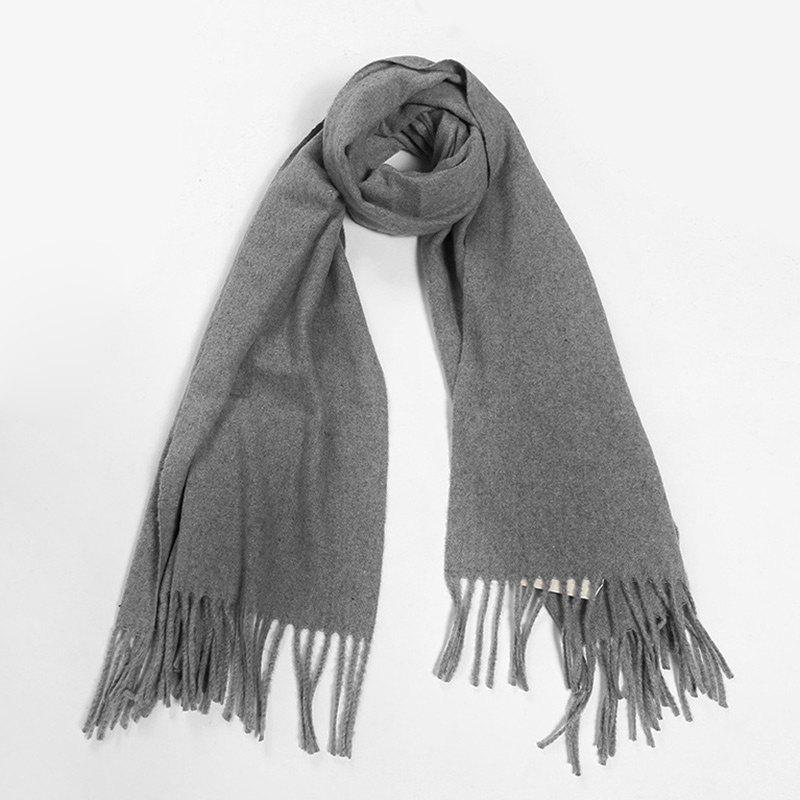 Outdoor Artificial Wool Fringed Scarf - DEEP GRAY